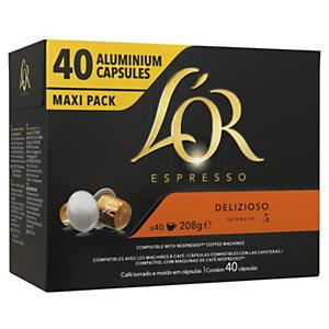 L'OR Café Espresso Delizioso pour machine Nespresso - intensité 5 - Boîte de 40 capsules