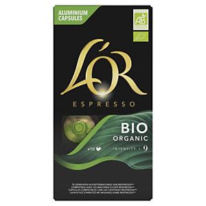 L'OR Espresso Capsules Café Bio Organic pour machine Nespresso, intensité : 9 - Boîte de 10
