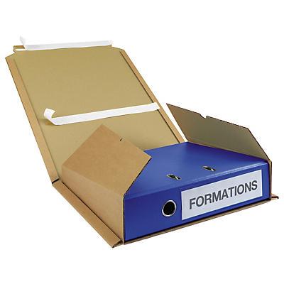 Étui postal en carton pour classeur avec fermeture par bande adhésive##Ordner-Versandkarton mit Haftklebeverschluss, braun