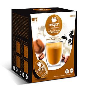 origen & sensations Café con Leche Cápsulas de café, tostado bajo-medio, 16 dosis, 160 g