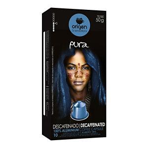 origen & sensations Pura Descafeinado Cápsulas de café, tostado bajo-medio, 10 dosis, 50 g
