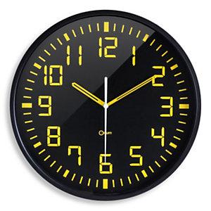 ORIUM Contraste - Horloge analogique murale silencieuse à quartz - Diamètre 30 cm - Noir