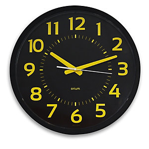 ORIUM Contraste - Horloge analogique murale silencieuse à quartz - Diamètre 40 cm - Noir