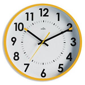 ORIUM Horloge murale silencieuse à quartz, diamètre 30cm - Jaune ocre