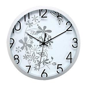 Orologio da parete con disegno floreale - Colore bianco - Diametro cm 30,5