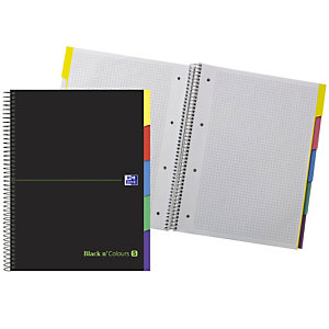 Oxford Black and Colours Europeanbook 5 Cuaderno, A4+, cuadriculado, 100 hojas, cubiertas extraduras, hojas troqueladas con pestañas separadoras, negro