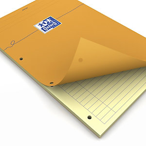 Oxford Bloc con tapa, A4, rayado horizontal, 80 hojas, cubierta cartón plastificado, amarillo