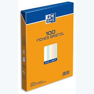 Oxford Boite distributrice 100 fiches bristol A4 unies 21 x 29,7 cm - 4 couleurs assorties : vert, rose, jaune et bleu