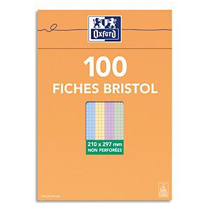 OXFORD Boîte distributrice 100 fiches bristol non perforées 210x297mm (A4) 5x5 assortis