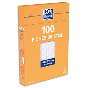 OXFORD Boîte distributrice 100 fiches bristol perforées format 14,8x21cm (A5) petits carreaux 5x5 Blanc.
