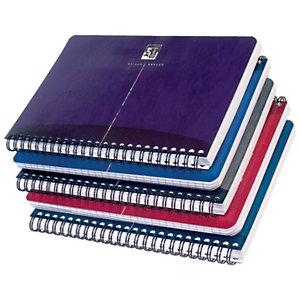 Oxford Cahier à double spirale OfficeEssentials A5, couverture souple, 100pages, quadrillé 5x5, couleurs assorties, compatible SCRIBZEE®