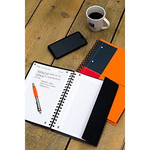 Oxford Cahier InternationalActivebook A5+, couverture en polypropylène, double spirale, 160pages, carreaux de 5mm, gris, compatible SCRIBZEE®