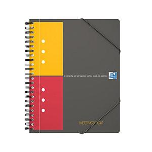 Oxford Cahier InternationalMeetingbook A5+, couverture en polypropylène, double spirale, 80feuilles/160pages, carreaux de 5mm, gris, compatible SCRIBZEE®