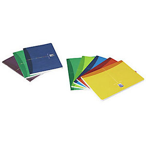 Oxford CarnetA4 Office Essentials, couverture souple, agrafé, 96pages, carreaux Seyès, couleurs assorties