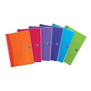 Oxford Carnet de bureau MyColours, A5 double spirale polypropylène, 180pages, quadrillé, couleurs assorties, compatible SCRIBZEE®