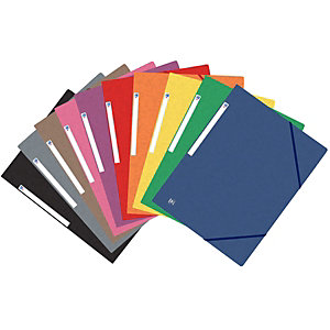 Oxford Chemises 3 rabats à élastiques Top File + A4, coloris assortis, lot de 10