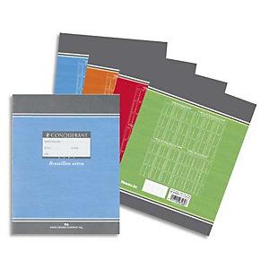 OXFORD CONQUERANT C7 Cahier de brouillon 17x22 cm 96 pages 56g grands carreaux Séyès. Couverture carte