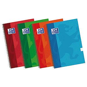 Oxford Cuaderno, 4º, cuadriculado, 80 hojas, cubierta dura cartón plastificado, colores surtidos