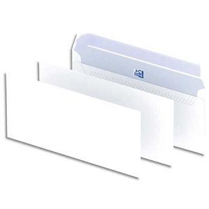 Oxford Enveloppes blanches format DL 110 x 220 mm 90 g/m² sans fenêtre fermeture avec bande auto-adhésive