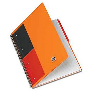 Oxford International Blocco a spirale doppia A4+, 160 pagine a righe 5 mm, Compatibile con SCRIBZEE®, Copertina in polipropilene, Arancione<BR>