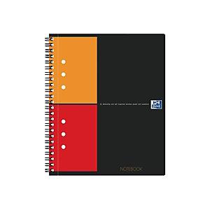 Oxford International Notebook Connect Cahier spirale A5+ 17 x 21 cm perforé 4 trous - petits carreaux 5x5 - 160 pages - compatible SCRIBZEE®
