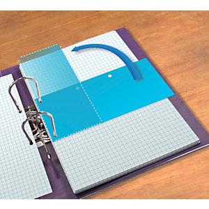 Oxford Jeu d'intercalaires rectangulaire DUO, horizontal ou vertical  - Paquet de 60 -Bleu