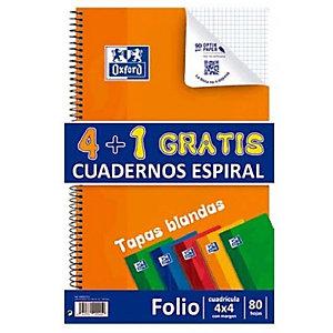 Oxford Pack 4+1 gratis Cuaderno, Folio, cuadriculado, 80 hojas, cubierta blanda cartón plastificado, colores surtidos