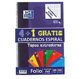 Oxford Pack 4+1 gratis Cuaderno, Folio, cuadriculado, 80 hojas, cubierta extradura cartón plastificado, colores surtidos