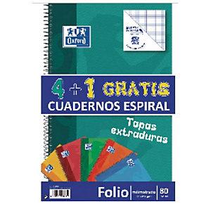 Oxford Pack 4+1 gratis Cuaderno, Folio, milimetrado, 80 hojas, cubierta extradura cartón plastificado, colores surtidos