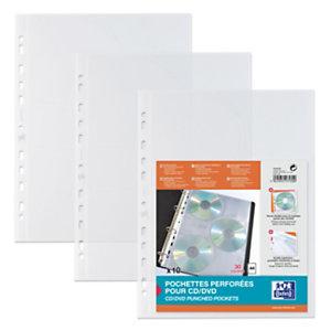 Oxford Pochette lisse pour CD/DVD, A4, polypropylène, 11 trous, transparente (Lot de 10)