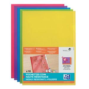 Oxford Pochettes coin  A4 ouverture en L en PVC 15/100e capacité 25 feuilles -coloris assortis