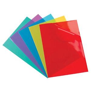 Oxford Pochettes coin A4, ouverture en L, en PVC 15/100e, capacité 25 feuilles - coloris assortis