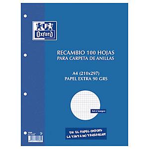Oxford Recambio de hojas, A4, 4 taladros para archivador, cuadriculado, 100 hojas