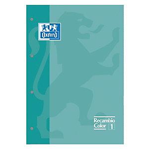 Oxford Recambio de hojas, A4, 4 taladros para archivador, cuadriculado, 80 hojas, borde menta
