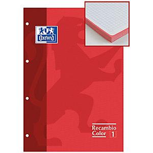 Oxford Recambio de hojas, A4, 4 taladros para archivador, cuadriculado, 80 hojas, borde rojo