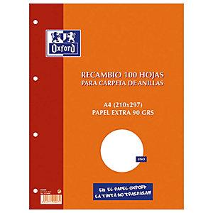 Oxford Recambio de hojas, A4, 4 taladros para archivador, liso, 100 hojas