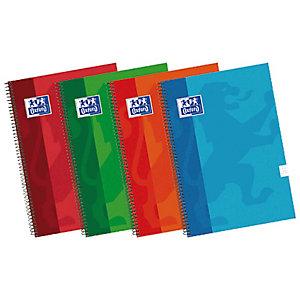 Oxford School Cuaderno, 4º, rayado, 80 hojas, cubierta extradura cartón plastificado, colores surtidos