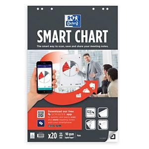 Oxford SmartChart, bloc pour tableau de conférence, 6 trous, 650 x 980mm, blanc uni, 20feuilles, 90g/m²