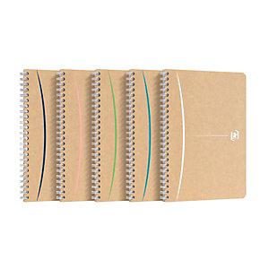 Oxford Touareg Cahier spirales A5 (14,8 x 21 cm) - 100 pages papier recyclé 90g petits carreaux 5 x 5 mm - Couverture souple en carte kraft