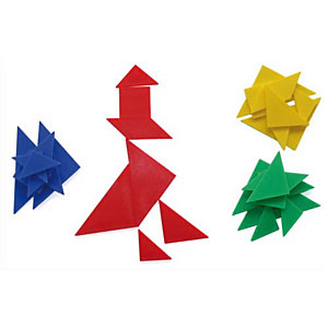 OZ INTERNATIONAL Jeu TANGRAM, composé de 4 OZ INTERNATIONAL Jeux de 7 pièces formant un carré
