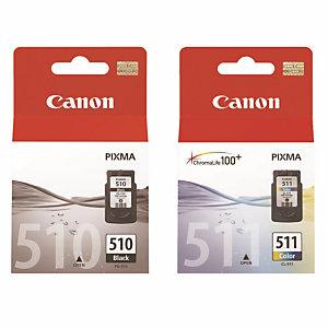 Pack 2 cartouches Canon PG 510 noir + CL 511 couleurs (cyan + magenta + jaune) pour imprimantes jet d'encre