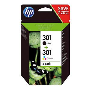Pack 2 cartouches HP 301 noir + 301 tricolore (cyan + magenta + jaune) pour imprimantes jet d'encre