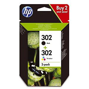 Pack 2 cartouches HP 302 noir et couleurs pour imprimantes jet d'encre