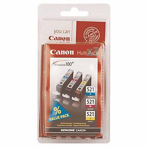 Pack 3 cartridges Canon CLI 521 diekleurige voor inkjet printers