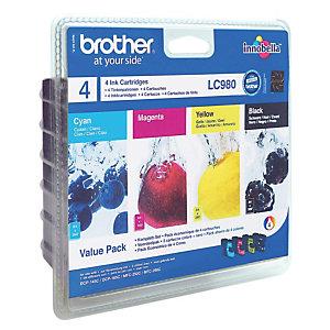 Pack 4 cartouches Brother LC980 noir et couleurs (cyan + magenta + jaune) pour imprimantes jet d'encre
