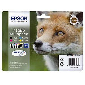 Pack 4 cartouches Epson T1285 noir et couleurs (cyan + magenta + jaune) pour imprimantes jet d'encre