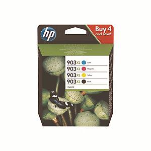 Pack 4 cartouches HP 903XL noir et couleurs pour imprimantes jet d'encre