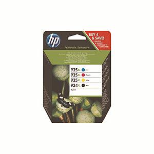 Pack de 4 cartouches HP 934XL / 935 XL noir et couleur pour imprimante jet d'encre