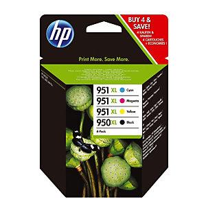 Pack 4 cartouches HP 950 XL / 951 XL noir et couleur pour imprimantes jet d'encre