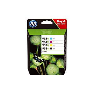 Pack de 4 cartouches HP 953 XL noir et couleur pour imprimante jet d'encre